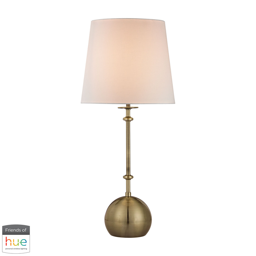 Orb Base Table Lamp in Antique Brass - with Philips Hue LED Bulb